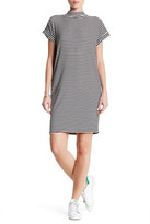 Bobeau Stripe Rib Knit Mock Dolman Dress