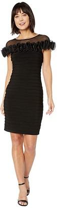 Adrianna Papell Matte Jersey Rosette Sheath Dress (Black) Women's Dress