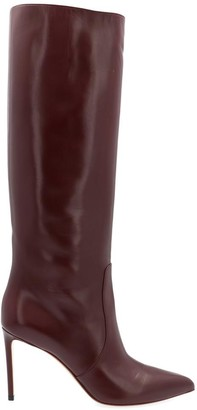 Francesco Russo Pointed Toe Calf High Boots