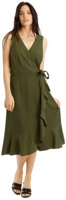 Basque Linen Ruffle Wrap Dress