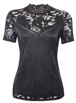 Dorothy Perkins Womens Vila Black Lace Yoke Top, Black
