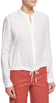 Theory Minitivie Long-Sleeve Fine Linen Top, White