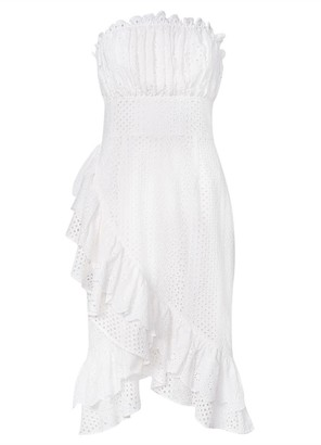 True Decadence White Broderie Strapless Wrap Midi Dress