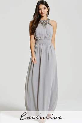 Little Mistress Grey Chiffon Maxi Dress with Adorned Neckline