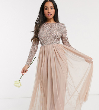 Maya Petite Bridesmaid long sleeve v back maxi tulle dress with tonal delicate sequin in taupe blush