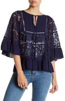 Plenty by Tracy Reese 3/4 Sleeve Front Tassel Crochet Lace Blouse