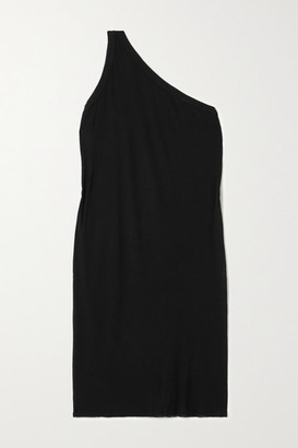 Rick Owens Anthem One-shoulder Ribbed Jersey Mini Dress - Black