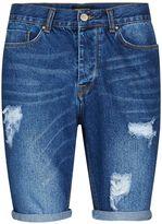Antioch Blue Slim Fit Ripped Denim Shorts*