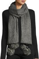 Neiman Marcus Two-Tone Tweed Pompom Scarf, Black/White