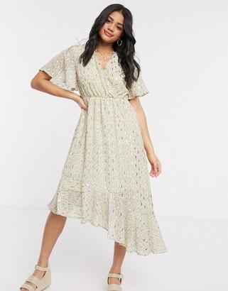 Qed London foil print asymmetric hem midi dress