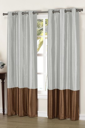 Duck River Textile Bridgette Faux Silk Thermal Blackout Curtain - Set of 2 - Chocolate/Silver