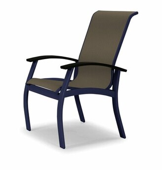 Telescope Casual Belle Isle Sling Patio Dining Chair Telescope Casual Frame Color: Black, Seat Color: Pacific Blue