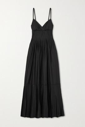 A.L.C. X Petra Flannery Esdell Pleated Cotton-blend Poplin Maxi Dress - Black
