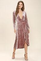 LuLu*s Enchant Me Blush Velvet Midi Wrap Dress