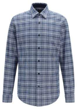 BOSS Regular-fit checked shirt in a mouline cotton blend