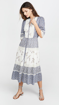 La Vie Rebecca Taylor Long Sleeve Woodblock Lace Dress