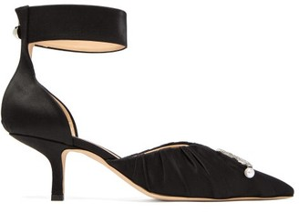 Midnight 00 Crescent-moon Ruched Satin Pumps - Black