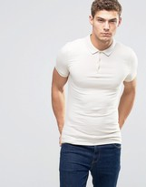 Asos Extreme Muscle Polo Shirt In Beige