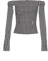 Preen by Thornton Bregazzi Kailey off-the-shoulder gingham top