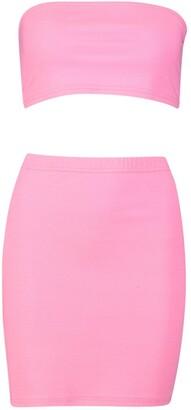 boohoo Bandeau & Split Detail Mini Skirt Co-ord