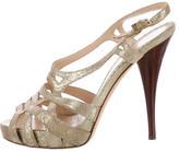 Fendi Metallic Suede Sandals