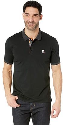 Robert Graham Easton Short Sleeve Knit Polo (Black) Men's Clothing