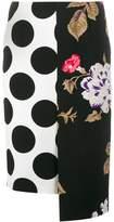 MSGM polka dot floral panelled skirt
