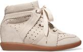 Isabel Marant Bobby Suede Wedge Sneakers - Beige