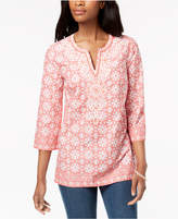 Charter Club Beaded Cotton Split-Neck Tunic, Created for Macy's