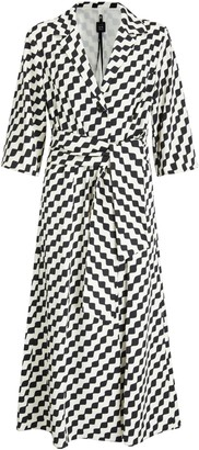 Marella Fidato Belted Geometric Dress, Black/Multi
