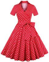 Aecibzo Women's Short Sleeve Vintage 1950s Polka Dot Retro Rockabilly Swing Dress (L, )