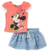 Children's Apparel Network Minnie Mouse Coral Pin Dot Tee & Blue Stripe Skort - Toddler
