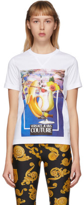 Versace White Banana and Drinks T-Shirt