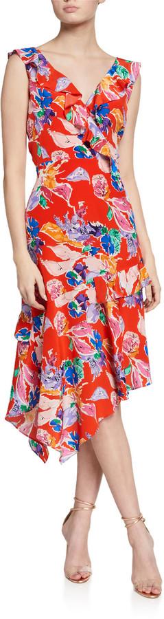 Milly Alexis Bouquet Floral Sleeveless Asymmetrical Dress