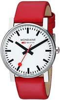 Mondaine Men's Swiss Quartz Watch with White Dial Analogue Display and Red Leather Strap A660.30344.11SBC