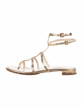 Prada Leather Cutout Accent Gladiator Sandals Gold
