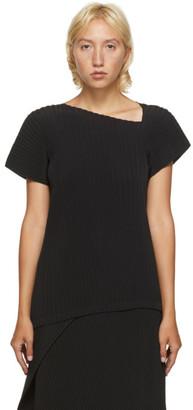 Issey Miyake Black Pleated Cap Sleeve T-Shirt