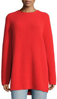 The Row Taby Heavy Cashmere Oversized Sweater, Bright Red