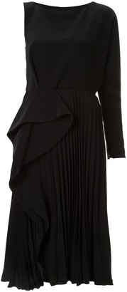 Azzi & Osta One Shoulder Pleated Ruffle Dress