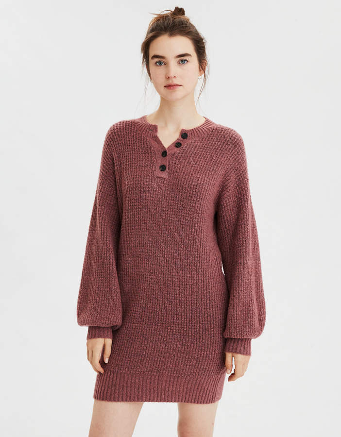 AE Henley Neck Sweater Dress