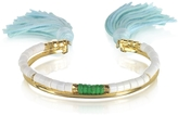 Aurelie Bidermann 18K Gold-plated & White Bamboo and Green Jaspe Beads Sioux Bracelet w/Light Blue Cotton Tassels