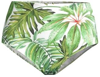 Chiara Boni Onnys Palm Leaf-Print High-Waist Bikini Bottom