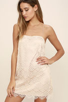 Cotton Candy Affectionately Yours Beige Lace Mini Dress