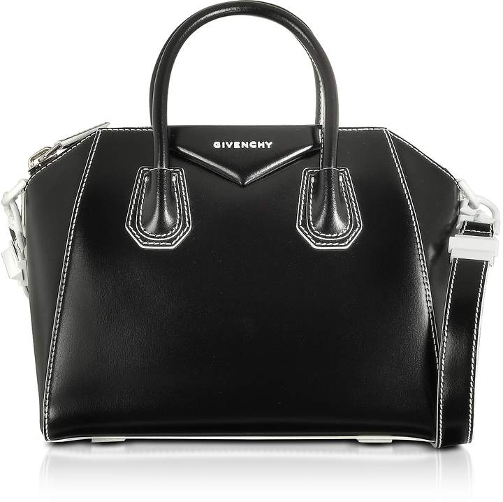 Givenchy Black/White Shinny Leather Small Antigona Tote Bag