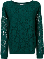 Twin-Set lace overlay jumper - women - Cotton/Polyester/Spandex/Elastane/Wool - XS