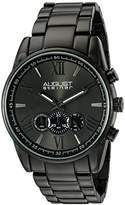 August Steiner Men's AS8163BK Black Chronograph Quartz Watch with Dark Gray Dial and Black Bracelet