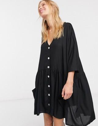 Only button through v neck smock dress