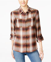 Jessica Simpson Dion Tab-Sleeve Plaid Shirt