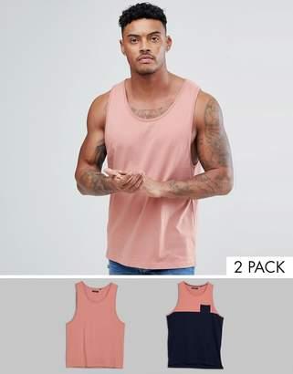 Brave Soul 2 Pack Plain And Block Contrast Pocket Vest-Navy