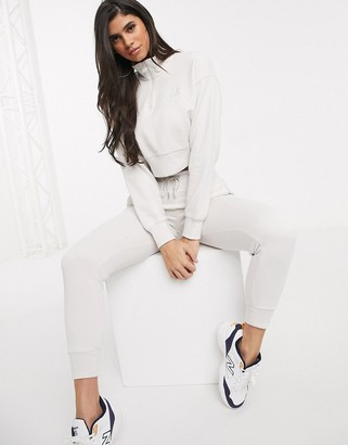New Balance half zip cropped sweatshirt in cream